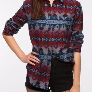 Urban Outfitters Flannel Button Up Tribal Aztec